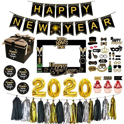 New Years Parties (Christmas Happy New Year 2020 Balloons Banner Photo Booth Props Party)