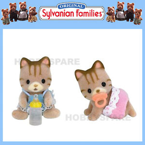 NEW SYLVANIAN FAMILIES STRIPED CAT BABY TWINS 5188