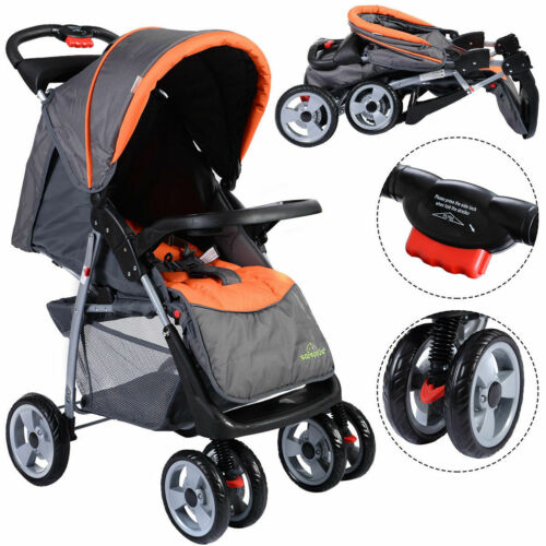 Foldable Baby Kids Travel Stroller Newborn Infant Buggy Pushchair Child Gray