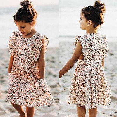 US Summer Toddler Kid Baby Girl Ruffle Princess Dress Casual Tutu Floral Dresses (Casual Girl Dresses)