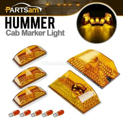 - 5pcs Amber Roof Clearance Top Marker Lights Yellow Bulbs for 2003-2009 Hummer H2