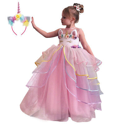 Unicorn Costume Birthday Wedding Ball Gown Princess Pageant Dress for Kid - Pageant Princess Kostüm