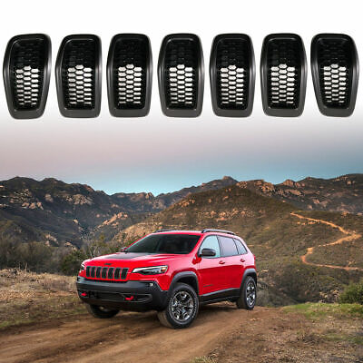 Gray Frame Black Front Grille Inserts Accessories fits Jeep Cherokee 2014-2018