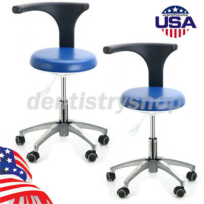 2ups Dentist Doctor Assistant Stool Adjustable Mobile Chair Pu Hard Leather