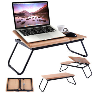 Portable Foldable Laptop Notebook PC Desk Table Adjustable Steel Stand MDF Tray