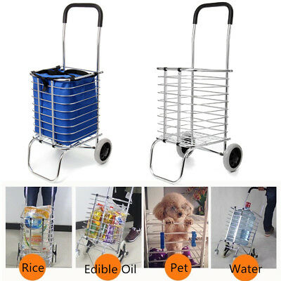2 Wheel Aluminum Folding Portable Shopping Market Grocery Basket Cart Trolley US