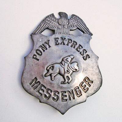 Antique OLD WEST mail Law BADGE vintage PONY EXPRESS Horseback western Mailman