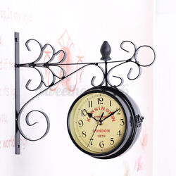 Wrought Iron Vintage-Inspired Rotatable Double Sided Hanging Wall Clock Decor US