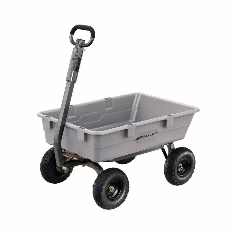 Gorilla Carts 800 Pound Capacity Poly Yard Dump Utility Cart, Gray (Used)