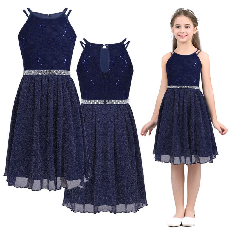 Mädchen Glitzendes Festlich Kleid Prinzessin knielang Spitze Kleider Partykleid