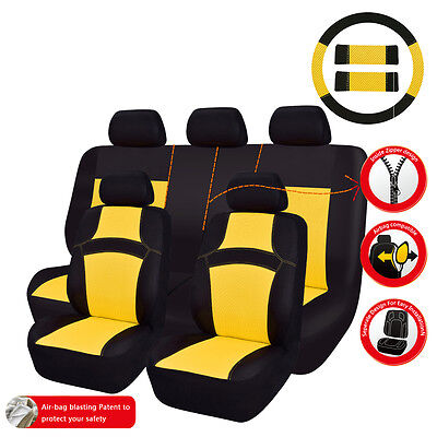 CAR PASS Rainbow Summer Universal Fit Car Seat Covers Breathable Yellow Full Set ()