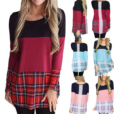 Women Autumn Color Block Patchwork Plaid Tunic T Shirt Back Lace Long Sleeve -