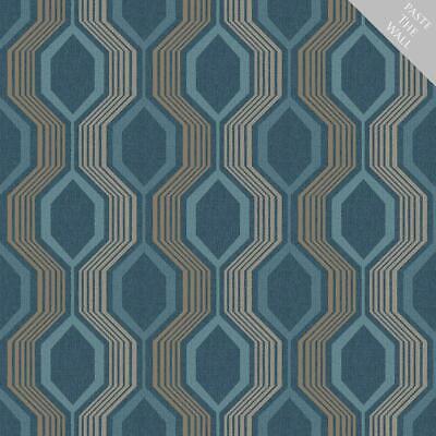 Hexagon Geometric Wallpaper Blue Teal Gold Metallic Shimmer Paste Wall -