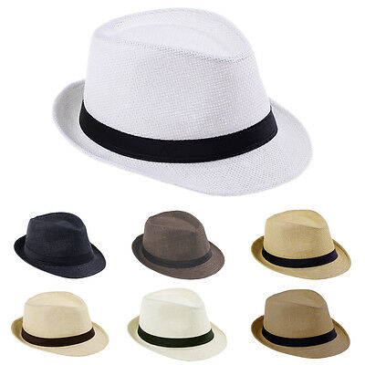 Children Boys Fedora Trilby Derby Straw Hat Wide Brim Panama Jazz Cap Summer