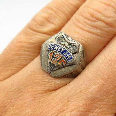 1940s Jewelry Styles and History 925 Sterling Silver Vintage 1940s Enamel John Dewey School Class Ring Size 7 1/4 $39.99 AT vintagedancer.com