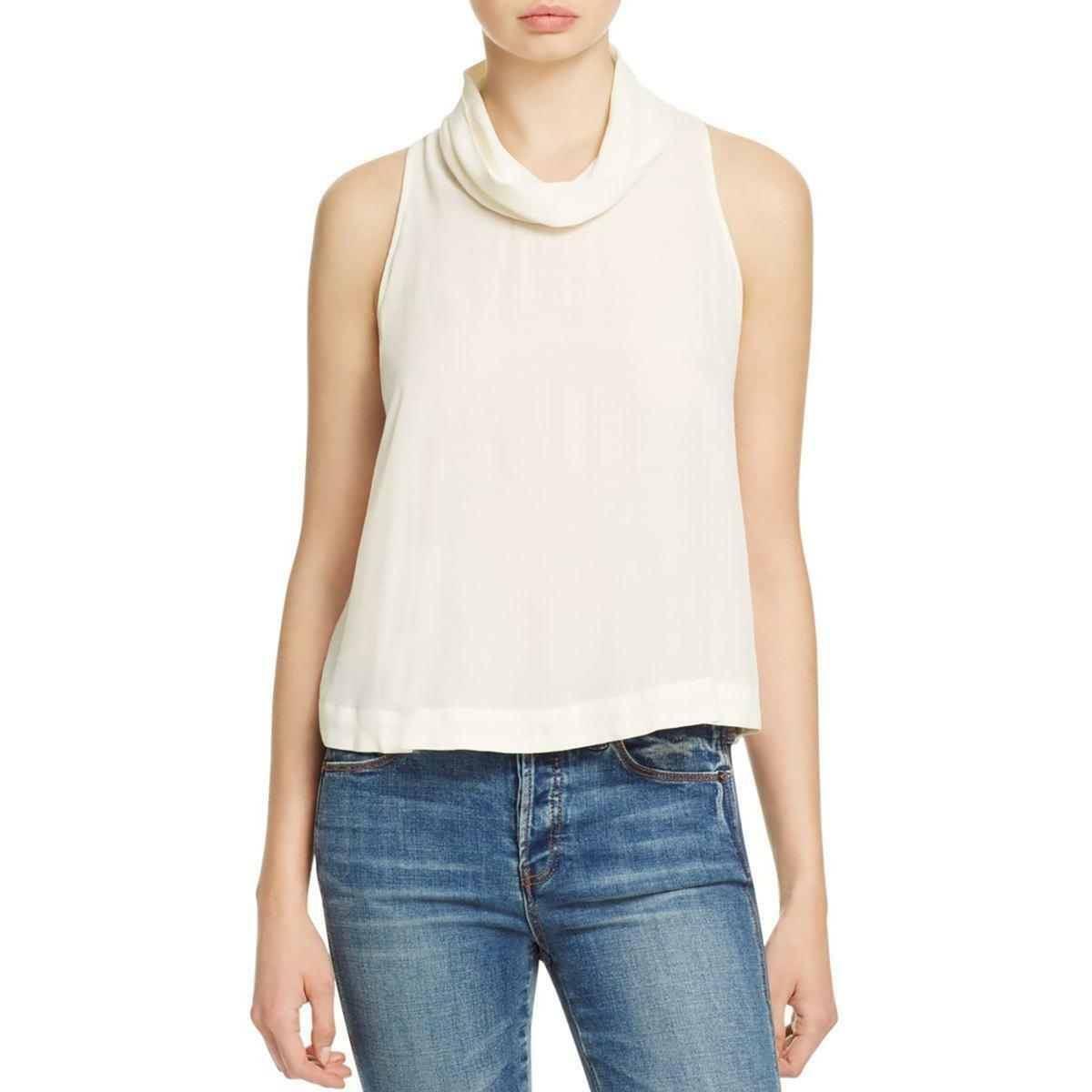 Free People New Womens Ivory Cowl Neck Sleeveless Casual Shirt Top Xs Tedo