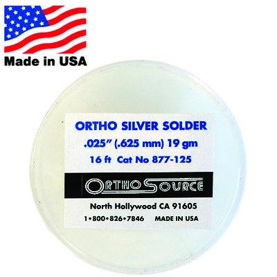 Orthosource Orthodontic Dental Silver Solder 5 M 16 Ft Roll .025 .625mm 19gm