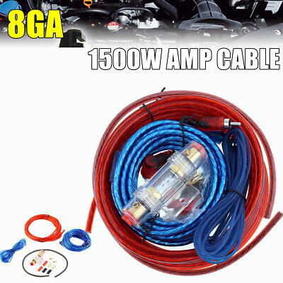 Power Car SoundBox 8 Gauge AWG Amplifier Install Wiring Kit Amp Cables 1500WATT