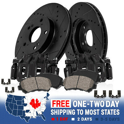 Rear Brake Calipers & Rotors Ceramic Pads For 6 LUG FORD F150 LINCOLN MARK LT