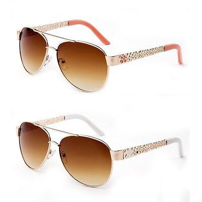 Floral Sunglasses (Aviator Pilot Designer Sunglasses Flower Floral Temple)