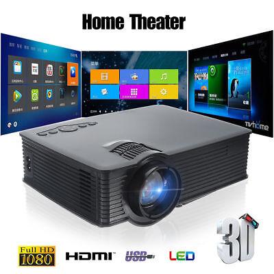 7000LM 1080P Full HD Smart 3D Projector Wifi LED USB Home Theater HDMI VGA Balck