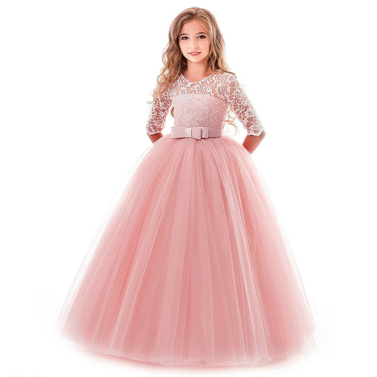 Children Gowns For Wedding: Kids Bridesmaid Lace Dress Wedding Party Long Princess