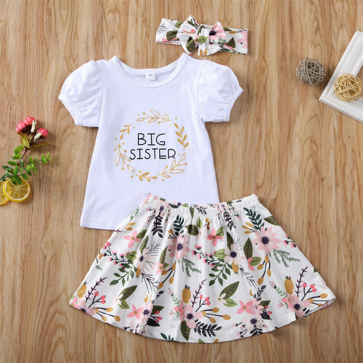 Floral Skirt Clothes Set Toddler Baby Girls Sister Matching Outfits Baby Little Sister Romper Big Sister Tops