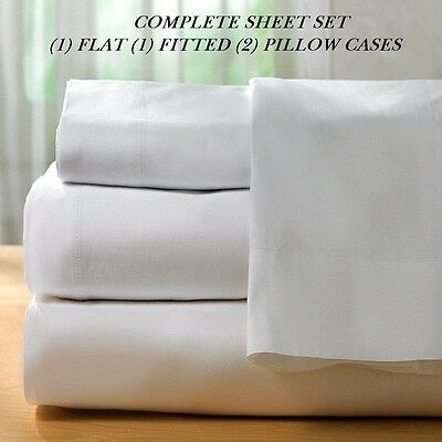 1 new white cotton king size sheet set 300T percale best for hotels deep