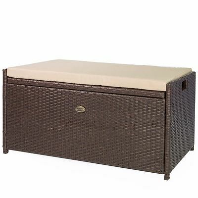 all weather rattan Pool Deck Box Storage wicker Backyard Patio Outdoor w seat