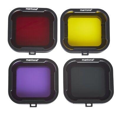 mantona Filterset 4-farbig GoPro Hero 4 / 3+, rot, magenta, gelb und grau