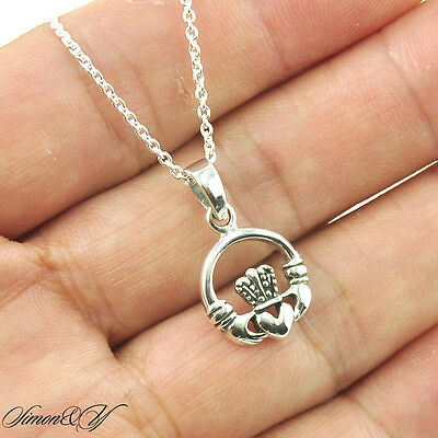 925 Silver Handmade Antique Pendant (925 Sterling Silver Antique Irish Claddagh Hand Heart Crown Pendant Necklace)