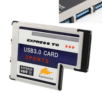 Express Card ExpressCard 54mm To 3 Port Hidden Inside Laptop USB 3.0 HUB Adapter