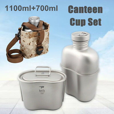 f943b16fc Army Titanium Canteen Water Bottle Cup Pot Camping Hiking Tool Set 1.1L+0.7L
