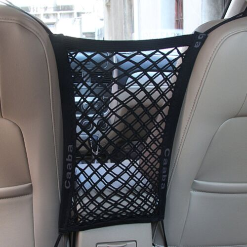 Large 30x30cm LuckySSR 3 Layer Universal Car Seat Net Organizer Mesh Cargo Net Pouch Driver Storage Netting Pouch for Purse Phone Pets Dogs Kids Barrier Disturb Stopper