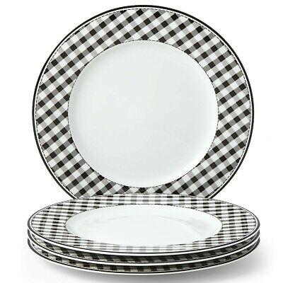 Totally Tikaa Black & White Gingham 4-piece Dinner Plate Set (NEW) LENOX 4 Piece Dinner Plate Set