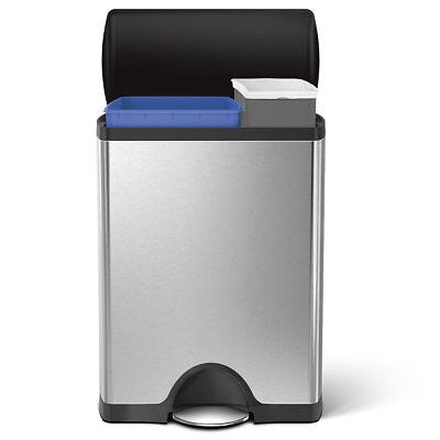 Simplehuman 46 Litre Rectangular Recycler Pedal Bin ()