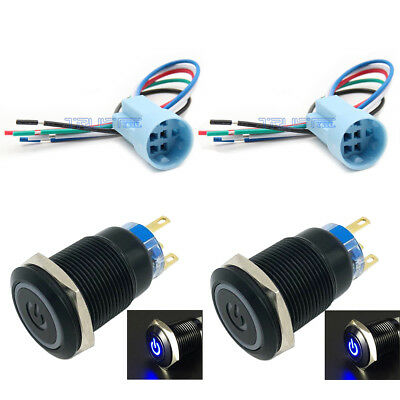 19mm Socket Plug12v Latching Push Button Power Switch Black Metal Blue Led
