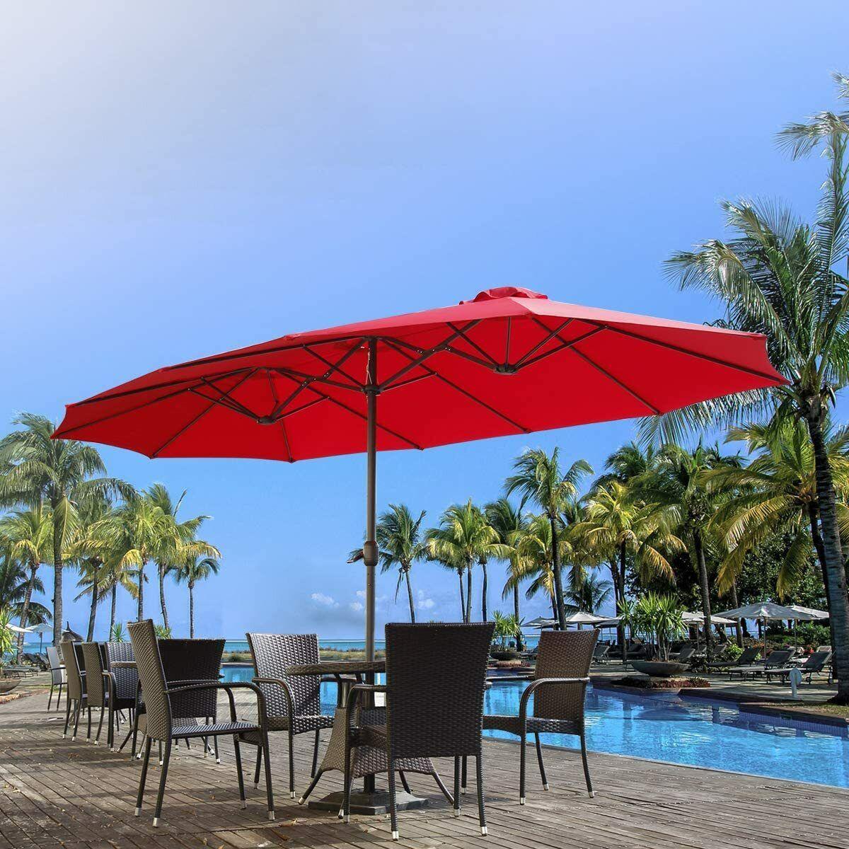 15 FT Double-Sided Patio Outdoor Umbrella Market Garden Yard Deck Pool Sunshade Garden Structures & Shade