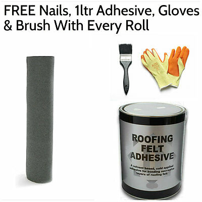 Green Shed Felt | Roofing Felt 5m (FREE Nails, 1ltr Adhesive, Gloves & Brush)
