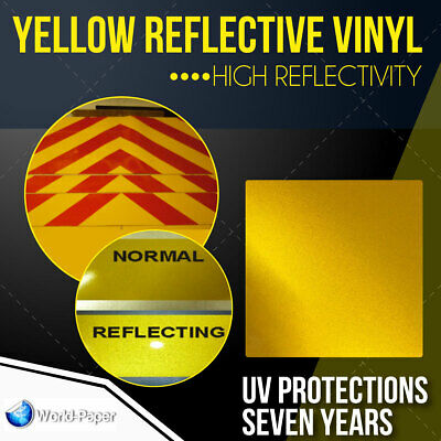 Reflective Yellow Sign Vinyl Adhesive Safety Plotter Cutter 12 X 10 Feet