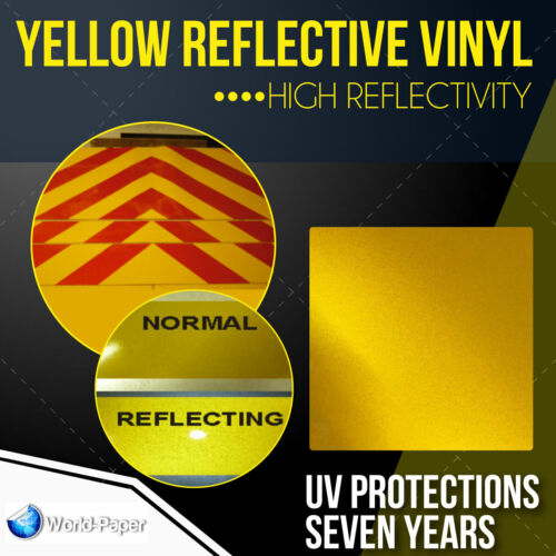 "Reflective YELLOW sign Vinyl Adhesive safety Plotter cutter  12"" x 10 feet"
