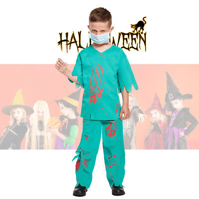 Vampire Doctor Halloween (Boy's Halloween Costume Bloody Doctor Surgeon Fancy Dress Age 10-12 Years)