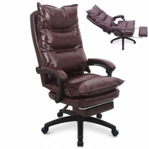 Ergonomic Executive PU Leather Office Sofa Chair Computer Desk Chair w Footrest