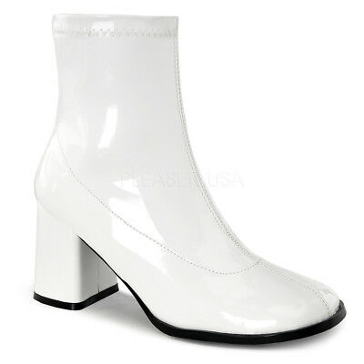 White Disco 60s Hippie Shoes GoGo Dancer Mod Costume Ankle Boots Womans 7 8 9 10 - Costume White Boots