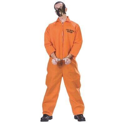 Hannibal Lecter Erwachsene Kostüm Orange Overall Maske Schweigen der (Lecter Kostüm)