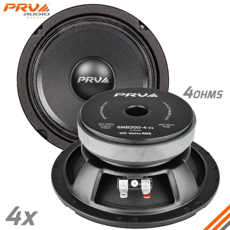 """4x PRV Audio 6MB200-4 Mid Bass Car Stereo 6.5"""" Speaker 4 Ohm 6MB PRO 800 Watts"""