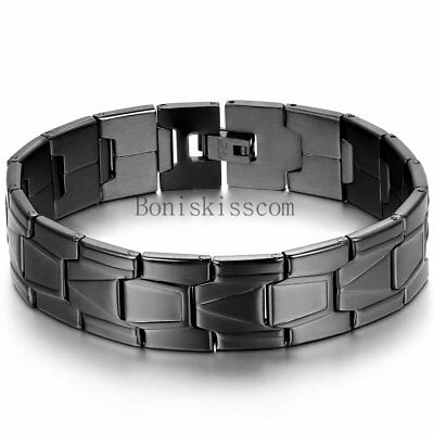Mens Stainless Steel Bracelet Bangle Wrist Greek Key Link Black Gloss Classic