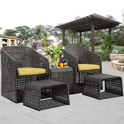 SALE 5 Piece Rattan Furniture Set With Footstools Suit Garden Christmas Gift