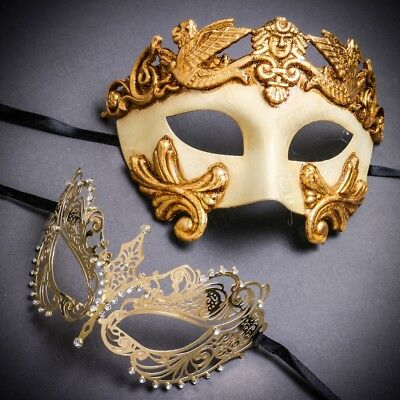 NEW His & Her Couple Gold Men and Women Party Mask Venetian Masquerade - Costume Masks For Men