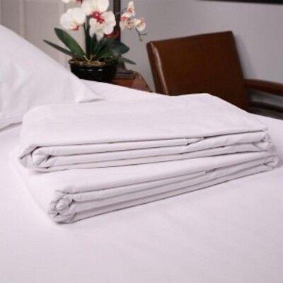 12 NEW WHITE T180 TWIN BED FLAT SHEET 66X104
